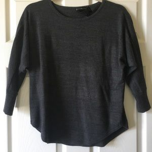 3/4 Sleeve Sweater Charcoal Stripes